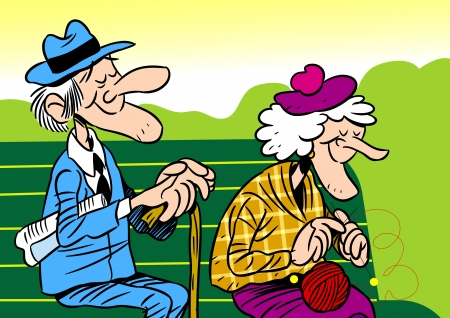 human age:  The illustration shows an elderly couple  It is an old man and woman, they sit on the bench  Illustration done in cartoon style, on separate layers