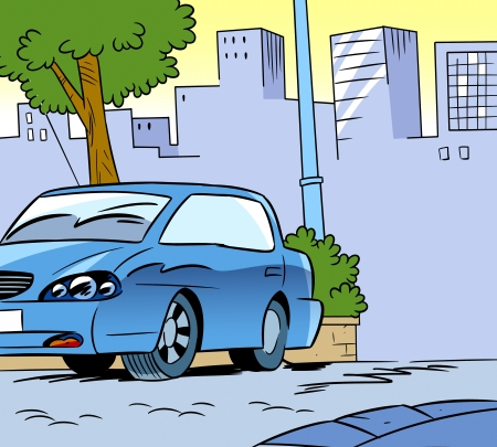 parked: The illustration shows a parked car on a city street background  Illustration done in cartoon style  Illustration