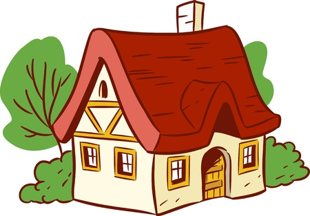 house front: The illustration shows a small house  Done in a cartoon style, isolated on white background  Illustration