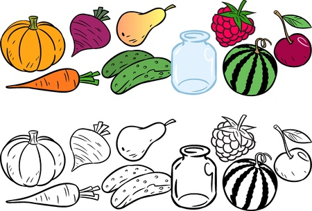 The illustration shows the coloring book of fruits and vegetables  Illustration done in cartoon style, on separate layers  Vector