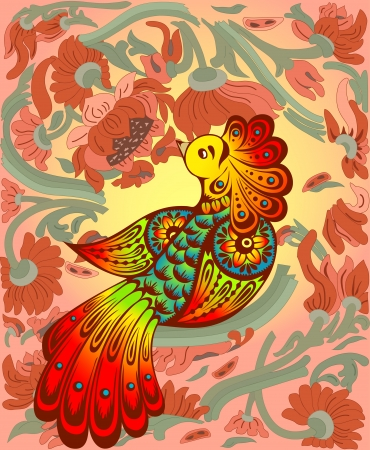 The illustration shows a beautiful fabulous bird against the background of a tree and flower  Иллюстрация