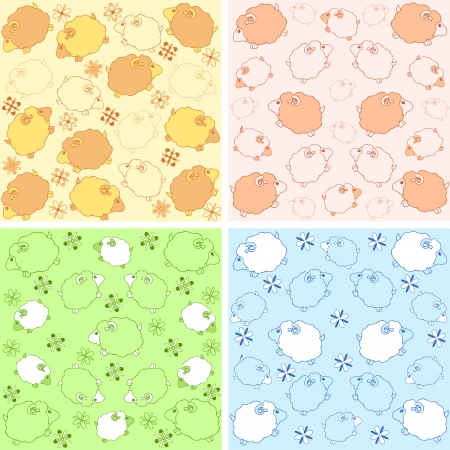 The illustration shows two patterns with lambs  Variants in a different of colors for children s products  Done in a cartoon style, on separate layers  Vector