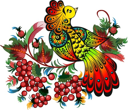 The illustration shows a beautiful fabulous bird against the background of a mountain ash branches  Иллюстрация