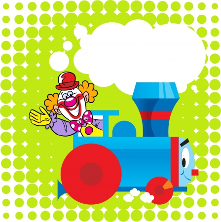 The illustration shows a funny toy locomotive on a green background, as well as a circus clown as a motorman  Illustration done in the children s cartoon style  There is a place for text, on separate layers, in EPS 10  Vector