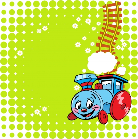 The illustration shows a funny toy locomotive on a green background  Illustration done in the children s cartoon style  There is a place for text, on separate layers