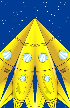 The illustration shows some cartoon missiles aimed at the sky  On separate layers  Vector