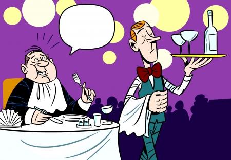 pareja comiendo: La ilustración muestra una escena en el restaurante de servicio al cliente camarero Ilustración realizada en un estilo de dibujos animados divertidos, en capas separadas