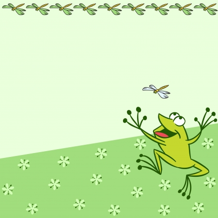 The illustration shows the pattern with cartoon frog that catches a dragonfly on a green background  There is a place for text, on separate layers  Vector