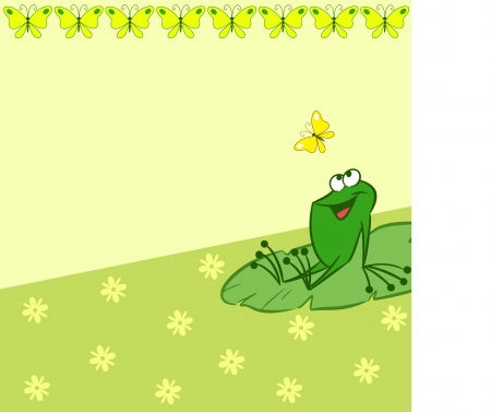 leapfrog: The illustration shows the pattern with cartoon frog that catches a butterfly on a green background  There is a place for text, on separate layers  Illustration