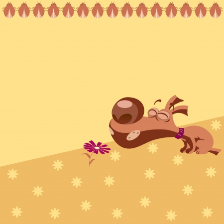 The illustration shows the children s pattern with cartoon puppy  There is a place for text, on separate layers  Vector