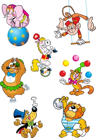 lion dog:  The illustration shows several different animals that perform in the circus  Illustration done in cartoon style, on separate layers