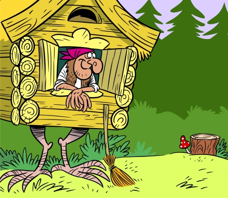 fabulous hut on chicken legs with Baba Yaga in a forest  Illustration Vector