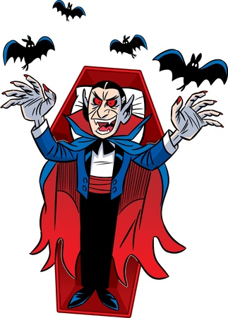 The illustration shows a cartoon Count Dracula for a holiday Halloween  Isolated on white background  Vector