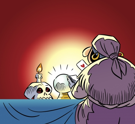 fetishes:  The illustration shows a fortune teller at a table with cards in their hands On the table is a magical glass ball, skull and candle  Illustration done in cartoon style