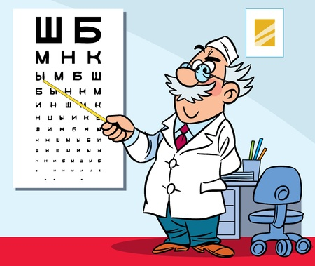 eye exams: The illustration shows the ophthalmologist in his office  Illustration done in cartoon style