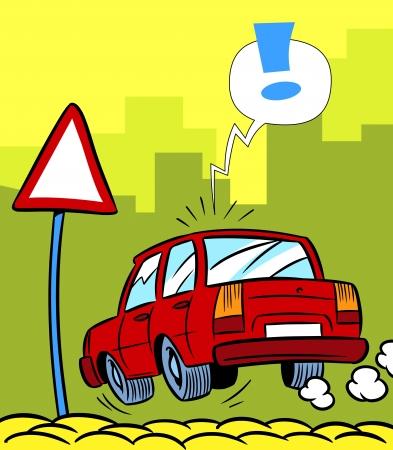 The illustration shows a cartoon car near a road sign on the street  Vector