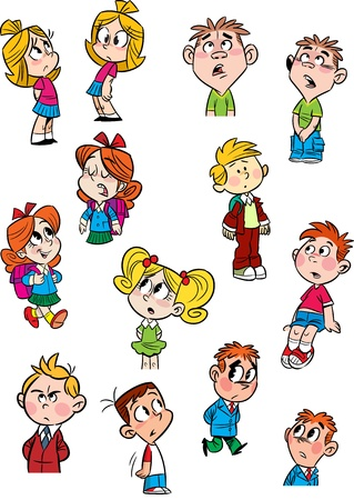 The illustration shows a few small children in various poses and with different emotions  Done in a cartoon style, on separate layers  Vector