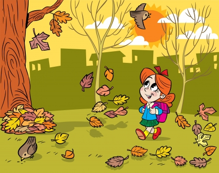 The illustration shows a little schoolgirl with a portfolio  She goes to school through the park and looks at the falling leaves  Illustration done in cartoon style  矢量图像