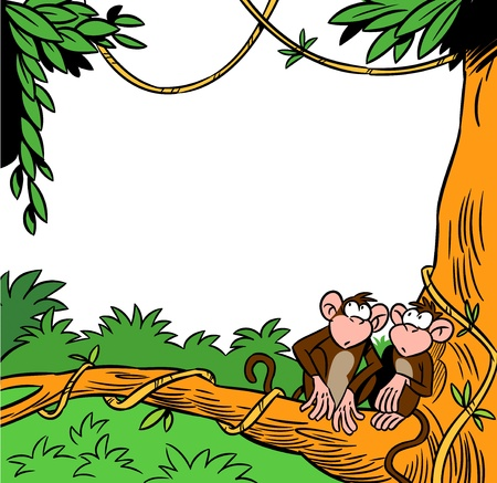 caricaturas de animales: dos mono divertido que se sienta en un �rbol contra el fondo de la selva Vectores