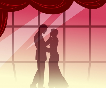 The illustration shows the silhouette of a loving couple, a male and female on the background of the hall