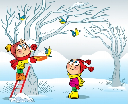 feeder: The illustration shows how a boy and a girl feeding birds in winter  Illustration done in cartoon style, on separate layers