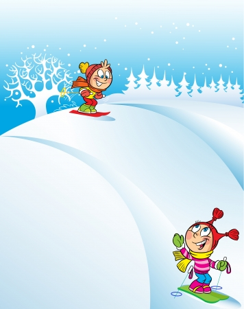 The illustration shows children skiing down the hills in the winter  In the background snowy hill and trees  Illustration done in cartoon style  Vector