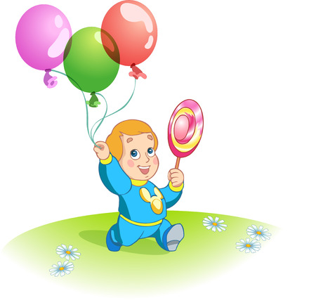 he: The illustration shows a funny kid  He steps with balloons and lollipop in hand  Illustration done in cartoon style  Illustration