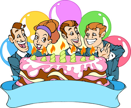 ready to eat:  The illustration shows a few of office workers  They note corporate holiday  This three men and one woman, and they ready eat a cake  People are joy and smiling in the background balloons
