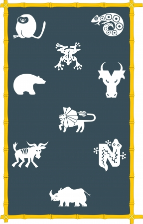 The illustration shows the icons of different animals, drawn on the blackboard  Icons are in the style of abstract silhouette  Vector