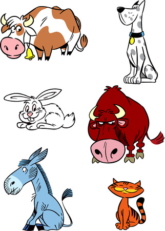 species: The illustration shows some species of domestic and farm animals isolated on a white background  Illustration done in cartoon style, on separate layers  Illustration