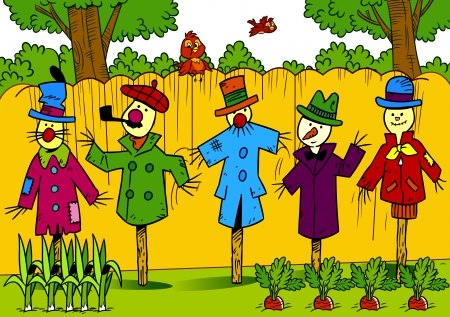 The illustration shows a few scarecrows in the garden  They stand along the fence in different clothes  Illustration done in cartoon style, on separate layers  Vector