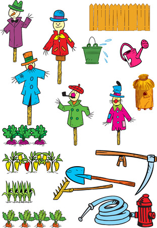 garden hose:  The illustration shows a set of tools and objects for the garden and kailyard  Illustration done in cartoon style, on separate layers, isolated on a white background