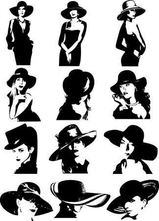 The illustration shows a number of beautiful women in hats  This figure and the heads of women in fashionable hats in a variety of poses  IIllustrations done in the style of a black contour, isolated on white background, on separate layers Vector