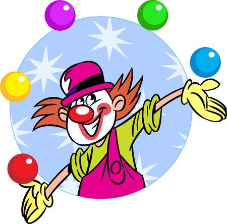 clowngesicht: Die Abbildung zeigt ein Zirkusclown, die Kugeln Illustration getan im Cartoon-Stil, auf separaten Ebenen jongliert