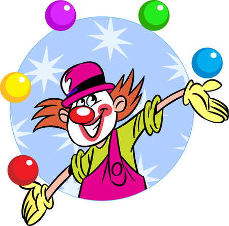 The illustration shows a circus clown who juggles balls  Illustration done in cartoon style, on separate layers  Vector