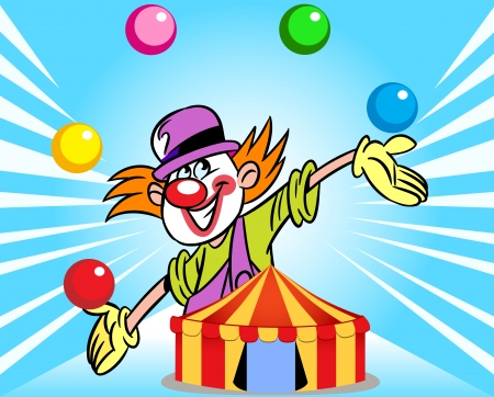 juggles: The illustration shows a clown who juggles balls against the background of a circus tent  Illustration done in cartoon style, on separate layers