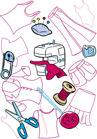 In the illustration on the background of silhouettes of pattern set of tools for sewing clothes  Illustration done in cartoon style, on separate layers  Vector