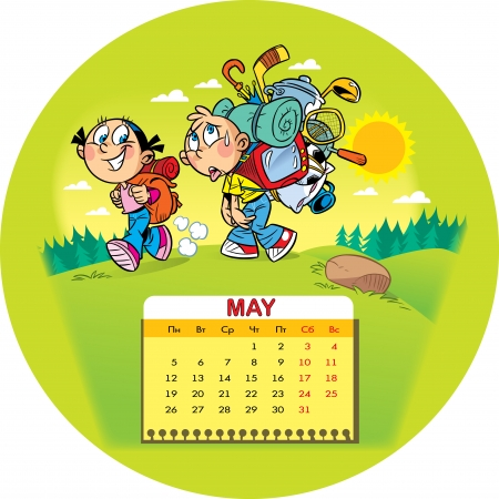 hiking trail: Calendar grid on May 2014 against the background of a funny drawing of children in the cartoon style  The illustration shows the children, who went a tourist camping trip  Boy goes hard with a big backpack and a girl with light backpack  Illustration done