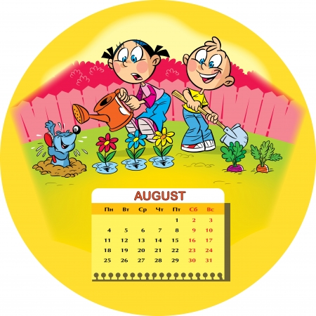 Calendar grid on August 2014 against the background of a funny drawing of children in the cartoon style  The illustration shows two children who work in the garden  Boy and girl are engaged in watering flowers and harvesting  Illustration done on separat Vector