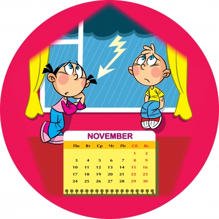 slush: Calendar grid on November 2014 against the background of a funny drawing of children in the cartoon style  The illustration shows how the kids get bored, standing at the window  On the street autumn rain and slush  Illustration done on separate layers, ha