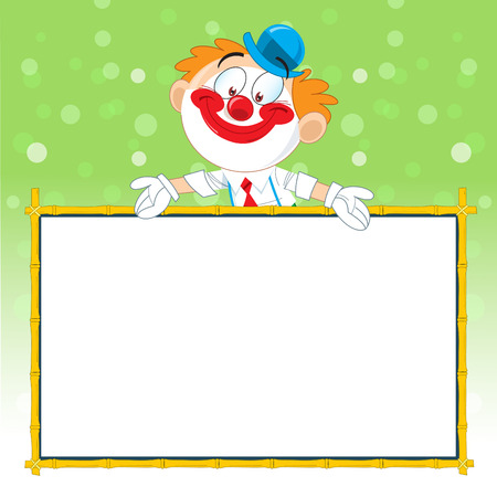 The illustration shows a cheerful clown cartoon, which shows on billboard    Vector