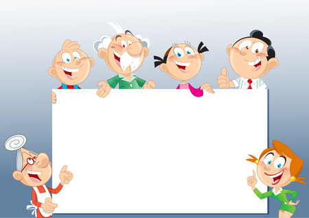 The illustration shows several cheerful family members older and younger generations, which shows on billboard   Vector