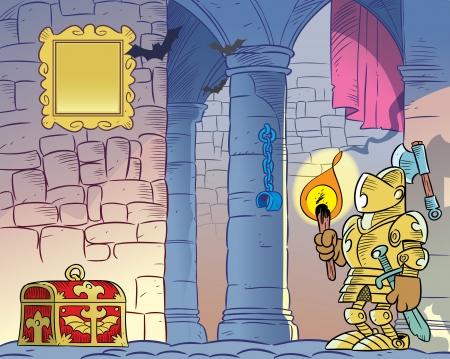Ilustracja przedstawia wnętrze starego ponurego zamku na tle kamiennych ścianach i kolumnach widzimy rycerza w zbroi, z płonącą pochodnią w ręku i wiano piersiowej Ilustracja zrobione w stylu kreskówki
