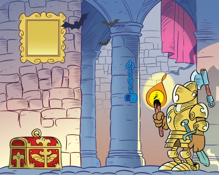 The illustration shows the interior of the old gloomy castle  On the background of the stone walls and columns we see a knight in armor, with a burning torch in his hand and dower chest  Illustration done in cartoon style