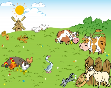 The illustration shows the farmyard and meadow on which the farm animals and pets