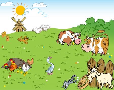 granja caricatura: La ilustraci�n muestra el corral y la pradera en la que los animales de granja y mascotas Vectores
