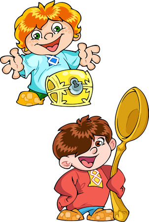 brownie: The illustration shows a small boy brownie  Brownie stuff symbolizes wealth, peace and comfort in the home  Illustration made in cartoon style, on separate layers  Illustration