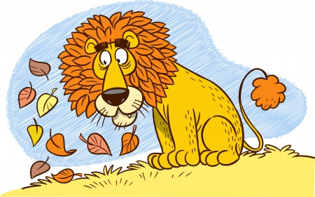 The illustration shows a cartoon lion with a mane of autumn leaves