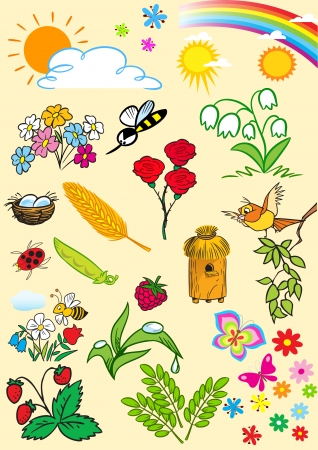 The illustration shows a set of cartoon cliparts, symbolizing the summer season  Illustration done on separate layers  Vector