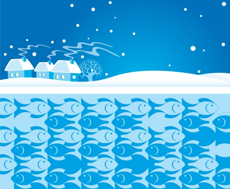 The illustration shows a winter landscape with houses  Near there is a river under ice shows silhouettes of fish